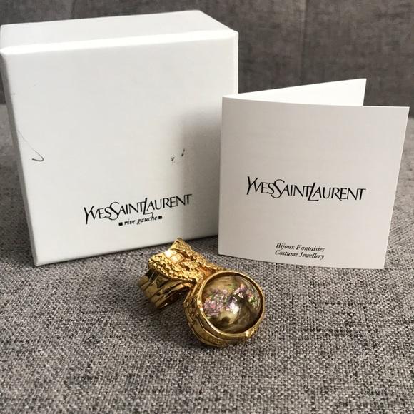 f6ec1d5b201 Yves Saint Laurent Jewelry | Ysl Glass Cabochon Arty Ovale Ring 7 ...